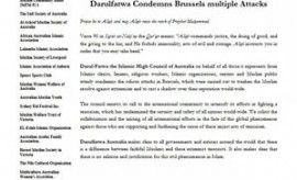 Darulfatwa condems Brussels Attack