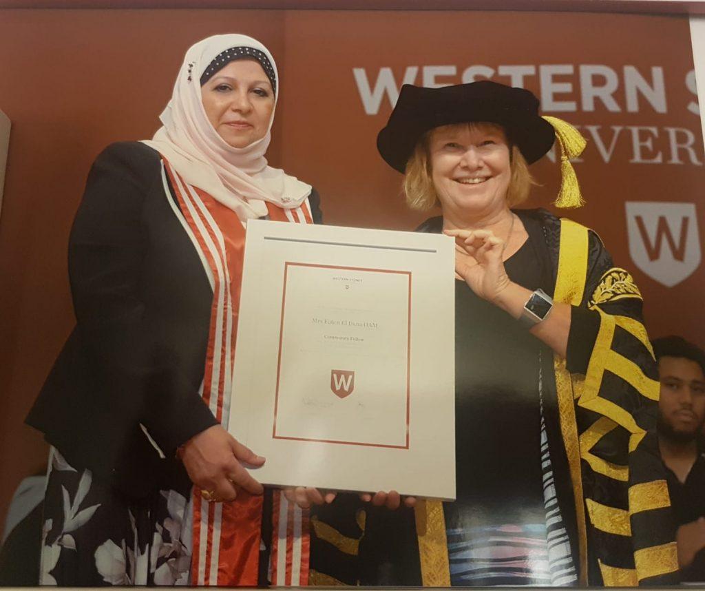 The Community Fellow of The University of Western Sydney Mrs Faten El Dana OAM